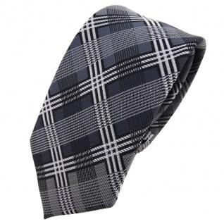 Schmale TigerTie Krawatte silber anthrazit grau schwarz kariert - Schlips Tie