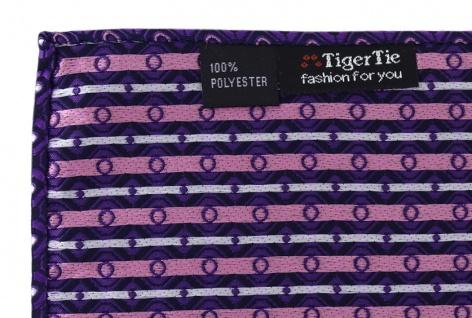 TigerTie Designer Einstecktuch in dunkelviolett rosa silber schwarz gemustert - Vorschau 3