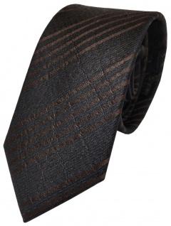 Schöne geprägte Krawatte aus 100% Seide in schwarz dunkelbraun gestreift