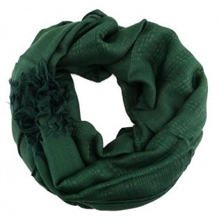 Schal in dunkelgrün einfarbig gemustert mit Fransen - Größe 180 x 70 cm