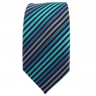 Schmale TigerTie Krawatte türkis blau schwarz silber gestreift - Binder Tie - Vorschau 2