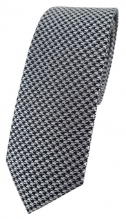 schmale TigerTie Designer Krawatte in silber grau schwarz Houndstooth gemustert
