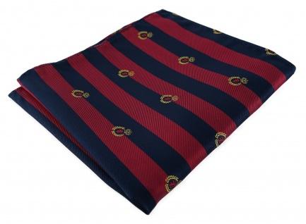 TigerTie Seideneinstecktuch in rot blau royal gold gestreift - Wappenmuster