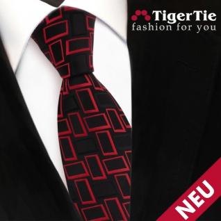 TigerTie Designer Satin Krawatte rot signalrot schwarz gemustert - Binder Tie