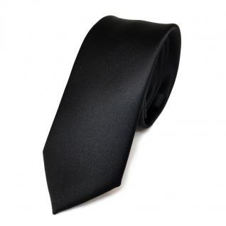 schmale TigerTie Satin Krawatte in schwarz black Uni Einfarbig - Binder Schlips
