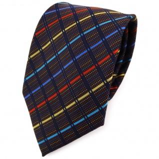 TigerTie Designer Krawatte in blau gold türkis rot schwarz gestreift - Binder