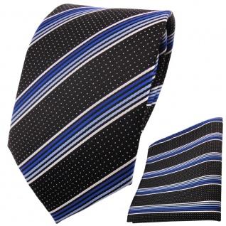 TigerTie Designer Krawatte+Einstecktuch blauhellblausilberweiss schwarzgestreift