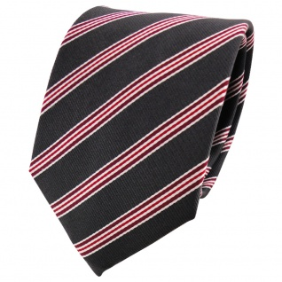 Satin Seidenkrawatte anthrazit rot bordeaux silber gestreift - Krawatte Seide