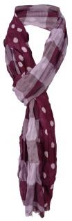 gecrashter 2 in 1 Schal in bordeaux rosa gepunktet und kariert - Gr. 180 x 40 cm