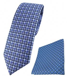 schmale TigerTie Krawatte + Einstecktuch in blau silber schwarz gemustert