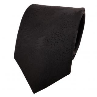 Schicke Designer Krawatte schwarz einfarbig gemustert - Schlips Binder Tie