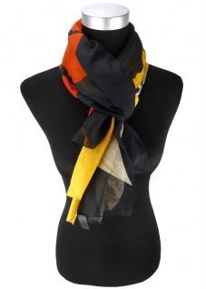 Damen Halstuch in gelb schwarz rotbraun beige gemustert - Tuch 155 cm x 110 cm