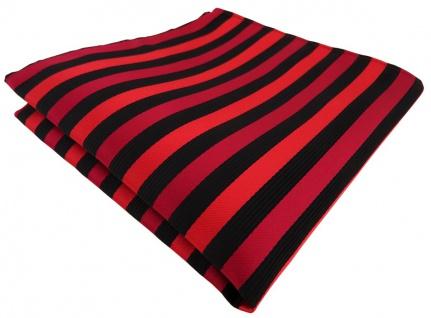 schönes Einstecktuch in rot schwarz gestreift - Tuch Polyester - Gr. 25 x 25 cm