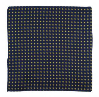 TigerTie Designer Seideneinstecktuch in dunkelblau gelb silber Paisley gemustert
