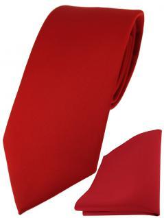 TigerTie Designer Krawatte + TigerTie Einstecktuch in verkehrsrot einfarbig uni