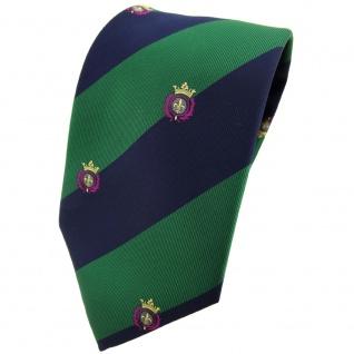 TigerTie Krawatte grün laubgrün dunkelblau gestreift mit Wappen - Tie Binder
