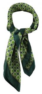 TigerTie Damen Nickituch in grün dunkelgrün beige gemustert - Größe 60 x 60 cm