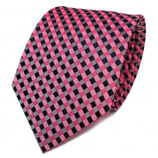 TigerTie Designer Seidenkrawatte rot rosa royal kariert - Krawatte Seide