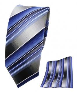 schmale TigerTie Seidenkrawatte + Einstecktuch blau grau silber gestreift
