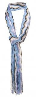 Damen Netzschal blau weiß schwarz gold gestreift mit Fransen - Gr. 180 x 35 cm