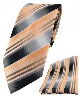 TigerTie Krawatte + Einstecktuch in lachs orange silber anthrazit grau gestreift
