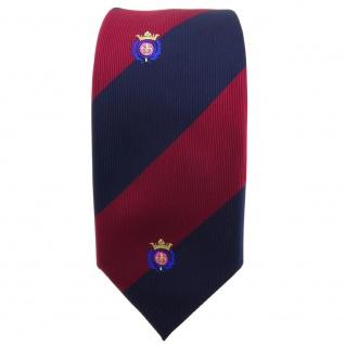 schmale TigerTie Krawatte rot weinrot dunkelblau gestreift Wappen - Binder Tie - Vorschau 2