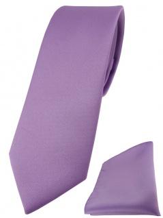 schmale TigerTie Designer Krawatte + Einstecktuch dunkles flieder einfarbig uni