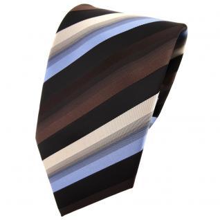 TigerTie Krawatte braun dunkelbraun blau beige schwarz gestreift - Tie Binder