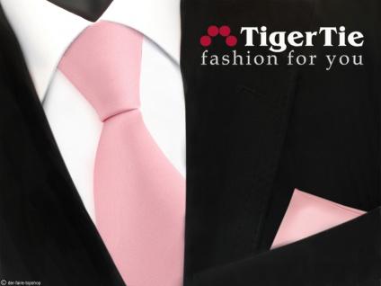 schöne TigerTie Satin Krawatte + Einstecktuch in rosa Uni -Tie Binder