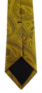 TigerTie - schmale Designer Krawatte in gold schwarz Paisley gemustert - Vorschau 4