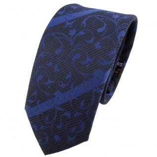 Schmale TigerTie Krawatte blau dunkelblau schwarz gestreift - Schlips Tie