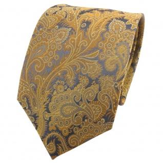 TigerTie Seidenkrawatte gold grau anthrazit gemustert - Krawatte Seide