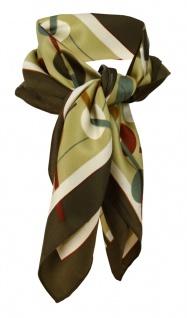 Feines Damen Satin Nickituch olive braun weinrot grau gemustert - Tuch Halstuch