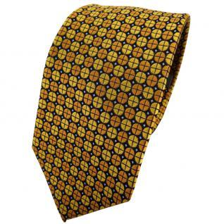 Enrico Sarto Seidenkrawatte gelb gold schwarz blau gepunktet - Krawatte Tie