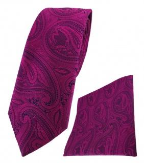 schmale TigerTie Krawatte + Einstecktuch magenta lila schwarz Paisley gemustert