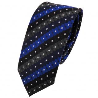 Schmale TigerTie Krawatte blau schwarz anthrazit silber gestreift - Binder Tie
