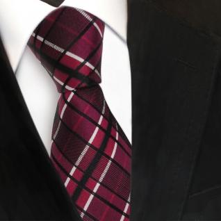 TigerTie Seidenkrawatte rot weinrot bordeaux schwarz weiß kariert Krawatte Seide