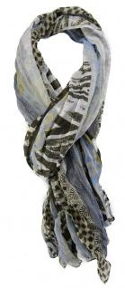 gecrashter TigerTie Chiffon Schal in blau grau weiß gemustert - 180 x 100 cm
