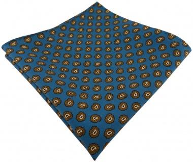 TigerTie handrolliertes Seideneinstecktuch in teal olive schwarz gold Paisley