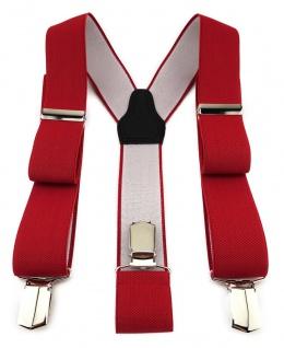 TigerTie Unisex Hosenträger mit 3 extra starken Clips - rot einfarbig Uni
