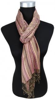 Schal rosa lila beige gemustert mit langen Fransen - Gr. 180 x 35 cm - Halstuch