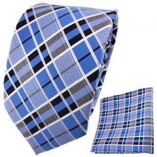 TigerTie Designer Krawatte + Einstecktuch blau schwarz silber grau kariert