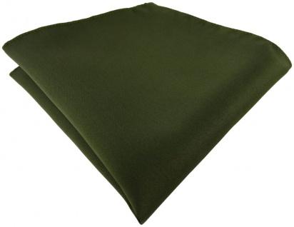 TigerTie Satin Einstecktuch in olivegrün einfarbig Uni - Größe 26 x 26 cm