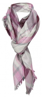 Halstuch violett rosa lila grau silber kariert mit kleinen Fransen -110 x 110 cm