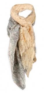 Halstuch in lachs altrosa beige braun geblümt gemustert - Tuch Gr. 100 x 100 cm