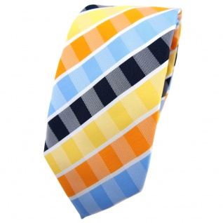Schmale TigerTie Krawatte gelb orange blau hellblau weiß gestreift - Binder Tie