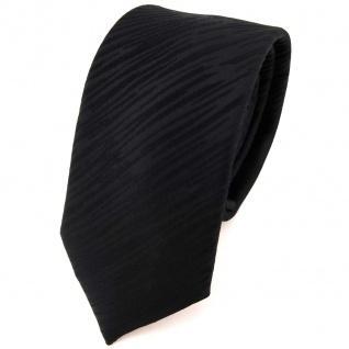schmale Seidenkrawatte in schwarz Uni gestreift - Krawatte 100% reine Seide