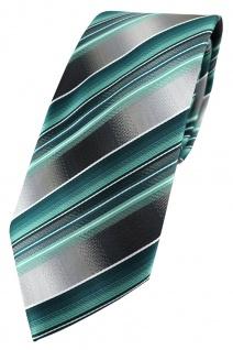 TigerTie Seidenkrawatte türkis mint grau silber gestreift - Krawatte 100% Seide