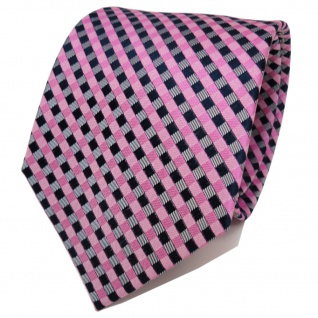 TigerTie Designer Seidenkrawatte rosa pink grau royal kariert - Krawatte Seide