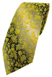 TigerTie Designer Krawatte in gelb anthrazit grausilber geblümt gemustert
